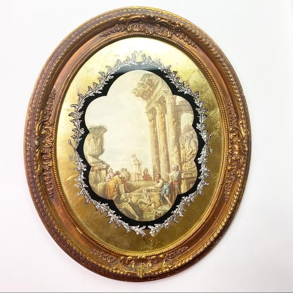 Vintage Midcentury Modern Roman Greek Oval Artwork